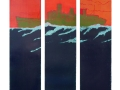 Grüner Dampfer, Triptychon, 2013, Maße: 140 cm X 120 cm
