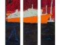 Dampfer im Hafen, Triptychon, 2014, Maße: 140 cm x 120 cm