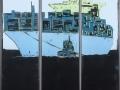 Containerschiff, Triptychon, 2017, 140 x 40