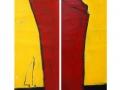 Roter Dampfer und gelber Himmel, 140 x 80, 2016