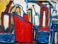 Rotes Schiff im Hafen, 60 x 80, 2005