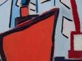 Rotes Schiff in der Stadt, 100 x 60, 2008